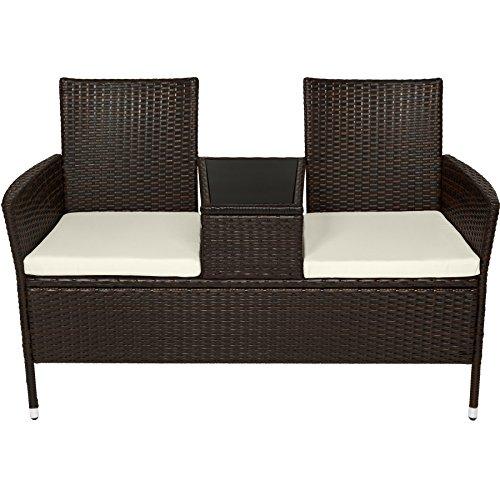 Tectake Sitzbank Mit Tisch Poly Rattan Gartenbank Gartensofa Inkl