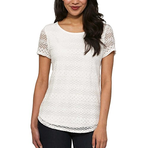 Leo and Nicole Ladies' Lace Top White X-Large