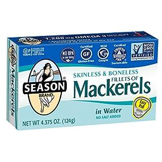 Season Skinless & Boneless Mackerels in Water, No Salt Added, 4.375-Ounce Tins (Pack of 12) (packaging may vary)