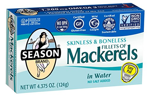 Season Skinless & Boneless Mackerels in Water, No Salt Added, 4.375-Ounce Tins (Pack of 12) (packaging may vary)