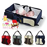 Travel Portable Bassinet Diaper Bed,3 in 1 Changing Station,Travel Crib & Diaper Bag & Stroller Attachment,Perfect Travel Bassinets for Babies & Travel Accessory by Shellvcase (Dark Blue)