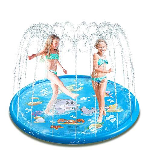 Seeyentic Sprinkle & Splash Play Mat, 68 Blue Splash Pad Perfect Summer Backyard Baby Water Toys, Outdoor Spray Pool Toys Fun Sprinkler for Children Infants Toddlers and Kids