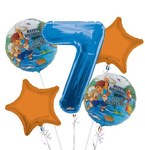 Go Diego Go Balloon Bouquet 7th Birthday 5 pcs - Party Supplies -