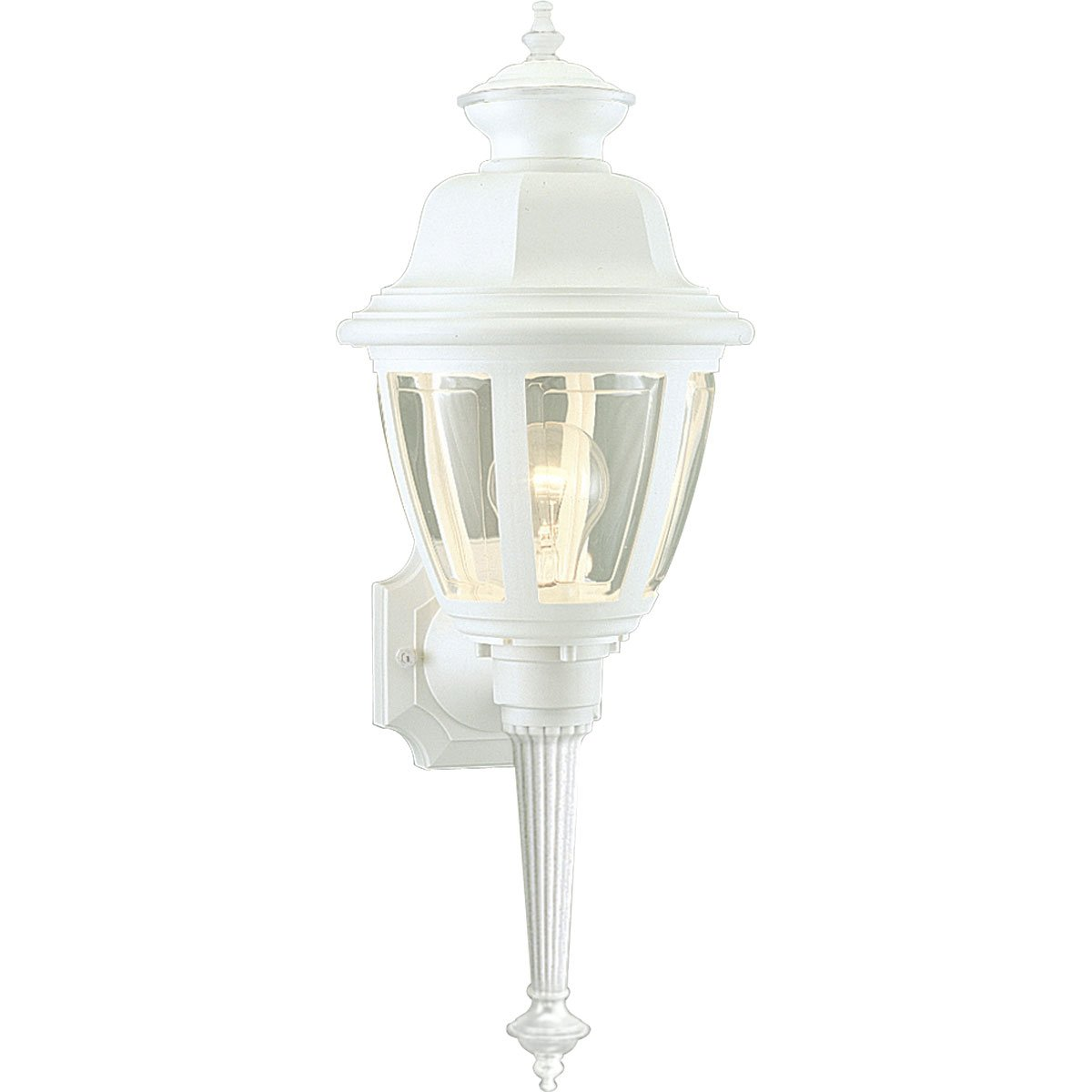 8-Inch Width x 21-Inch Height Progress Lighting P5738-30 Traditional One Light Wall Lantern from Non-Metallic Incandescent Collection in White Finish