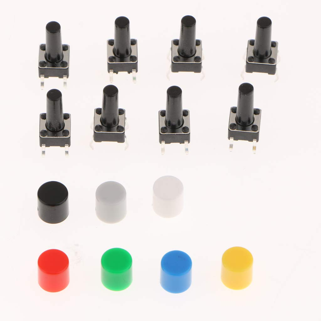 FLAMEER 80Pcs 6/×6/×13mm Tactile Tact Push Button Switch Micro Switch Touch Switch with 70Pcs 7 Color Button Caps for Arduino