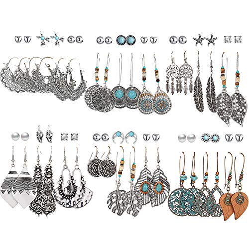 36 Pairs Fashion Vintage Drop Dangle Earrings Set for Women/Girls Bohemian Earrings with Hollow Leaf Waterdrop Jewelry…