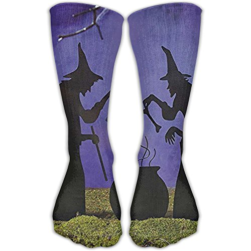 Malsjk8 Sock Witch Cauldron Pot Solar Lighted Lantern Halloween Silhouette Unisex Sport Over-The-Calf Long Tube Stockings One (Halloween Witch Cauldron Silhouette)