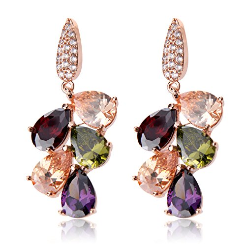 Ginasy Spring Colorful Cluster Crystal Glass Beads Dangle Earrings Beaded Linear Drop Earrings (Cubic Zirconia Multicolor 1.57