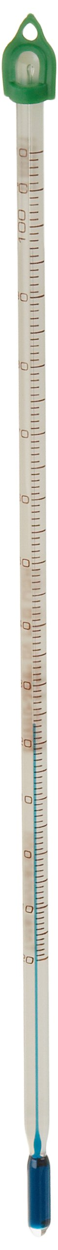 Enviro-Safe Total Immersion Spirit Thermometer, -20 to 110 Degrees C, 305mm Length