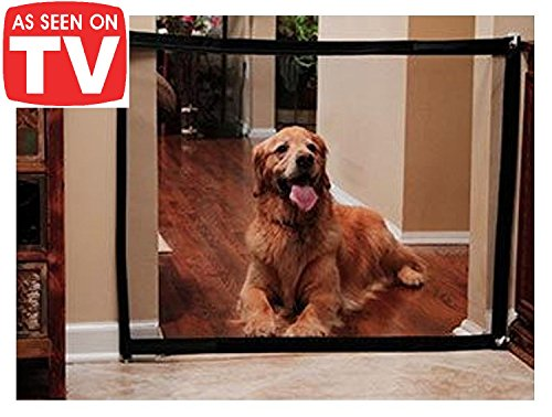 Magic Gate for Dogs - Portable Retractable Folding Mesh Screen Gate - for House Indoor Use -  Dog Safe Guard Install Anywhere - As Seen On TV