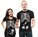 Skeleton X-ray Maternity Tee Shirt Baby Boy Maternity T-Shirt Pregnancy Shirt Couple Matching tees Halloween Costume t-Shirts Men XL - Women XL