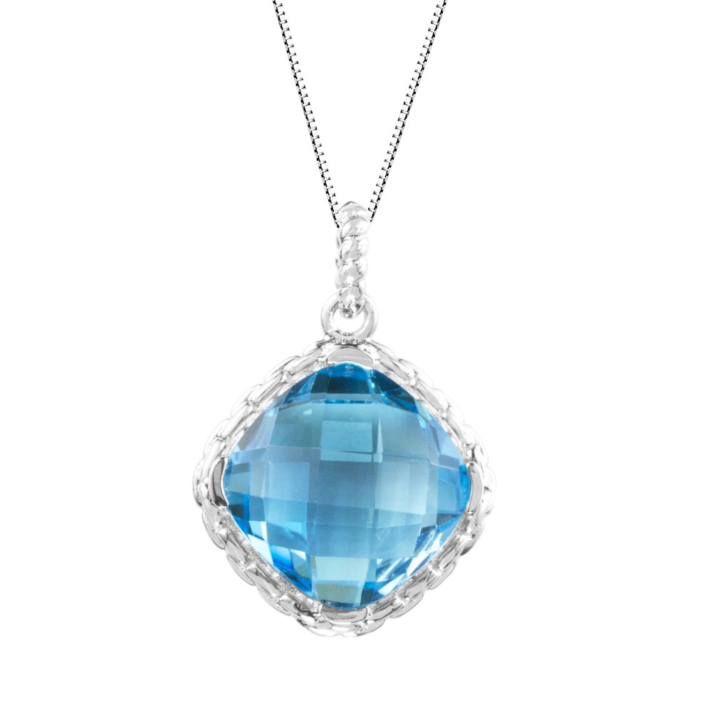 18 Sterling Silver 925 Checkerboard Cushion Amethyst or Blue Topaz Halo Pendant Necklace