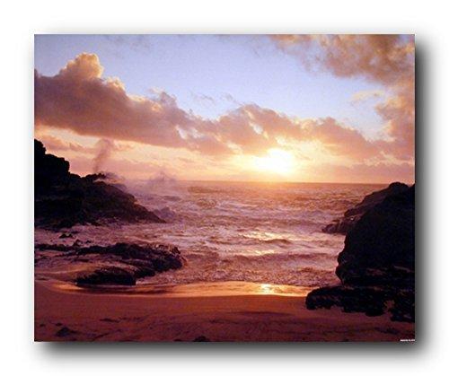 Coastal Sunrise on Ocean Beach Landscape Wall Decor Art Print Poster