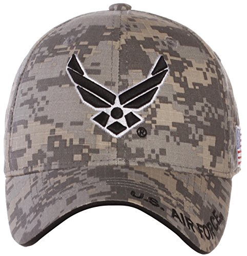 US Air Force Official License Structured Front Side Back Visor Embroidered Hat Cap (One Size, Khaki (Air Force Logo Cap)