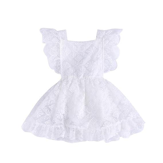 PAOLIAN Vestidos para bebe niñas Verano 2018 fiestas blanco Vestidos Costura Encaje Embroidered Florales Volantes Sin