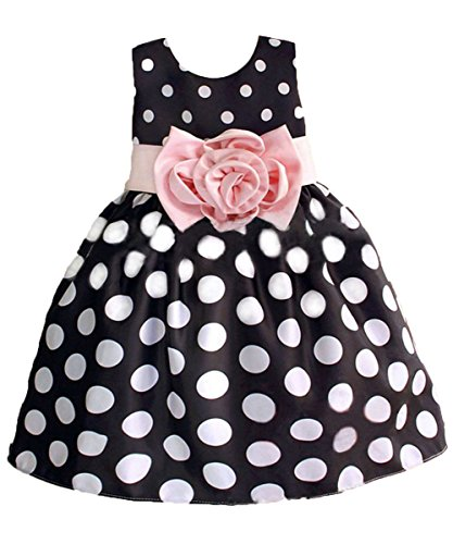 - Hotone Baby Girls'  Polka Dot Flower Fancy Dress - 5-6 Years - Navy Blue