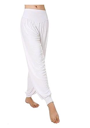 0a8d70acb658f Leisial Pantalones de Yoga Algodón Suave Piernas Pantalones Anchos Sólido  Color Elástico Pretina Pantalones Bombachos de Fitness Bailan Deportivo  para ...