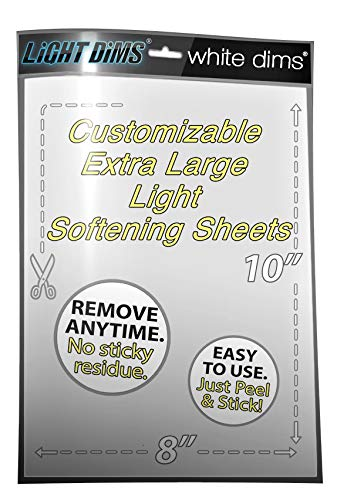Tint Screen - LightDims White Dims Light Dimming/Softening Sheet for Harsh LED Lights, Electronics and Appliances and more. Dims 15-30% of Light, 8