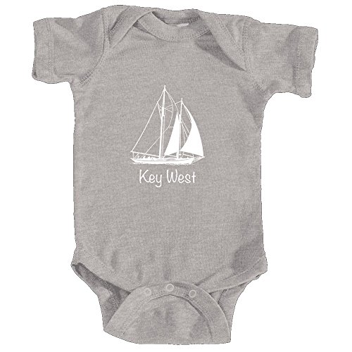 Key West, Florida Sailboat - Infant Baby Onesie/Bodysuit (24MOS, Heather Grey) - Key West Sailboat