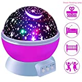 Star Projector Lamp, [New Generation] Novelty Starry Night Light 360 Degree LED Rotating Cosmos Projector with USB Cable for Baby Kids Children Bedroom Decor, Dream Rotating Projection Lamp(Pink)