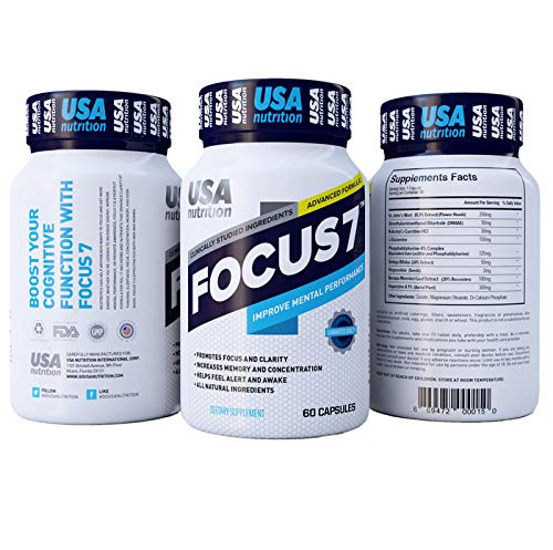Focus7 All-Natural Brain Support Supplement | Nootropic Scientifically Formulated, Clinically Studied to Boost Memory, Focus and Clarity, Achieve Peak Mental Performance, Caffeine-Free | 60 Day Supply