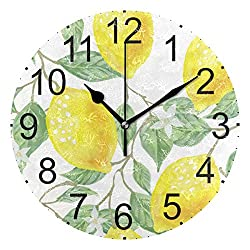 Yellow Lemon Round Acrylic Wall Clock Non Ticking Silent Clocks for Home Decor Living Room Kitchen Bedroom Office School
