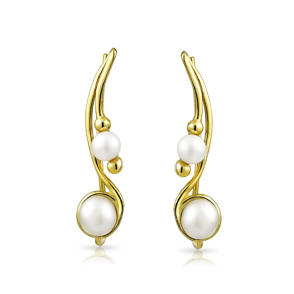 Bling Jewelry Gold Plated 925 Silver White Freshwater Cultured Pearl Ear Crawler Pins I3ZIaYLUn