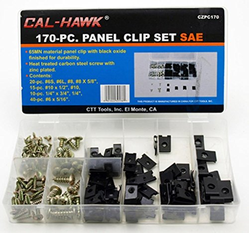 Cal-Hawk CZPC170 Auto Car Clip & Screw Kit for Dash Door Panel Interior SAE, White