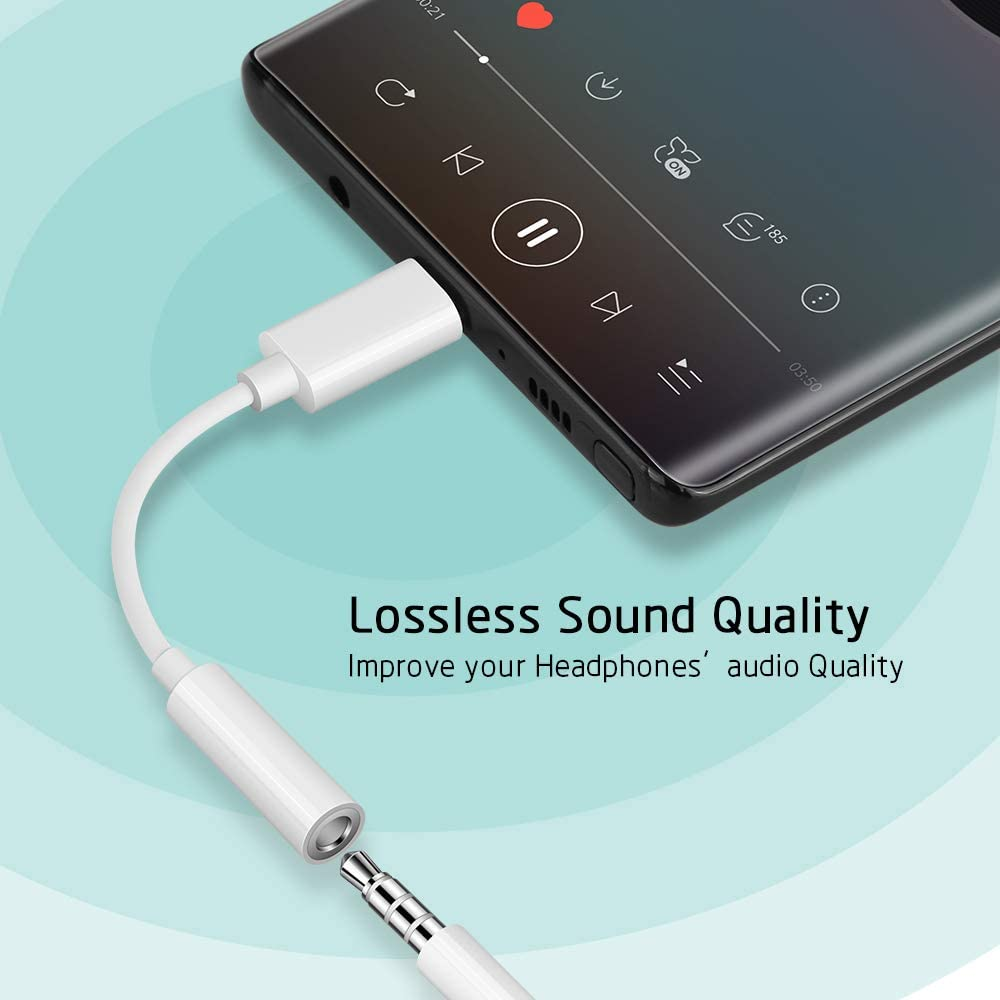 iPad Pro 11 OnePlus 7T Pro 7 Pro COOYA USB C to 3.5mm Adapter for OnePlus 7T USB C Headphone Jack Adapter DAC Chip Pixel 4 XL Audio Adapter USB C to Aux Auxiliary Adaptor for Google Pixel 2XL 3 4