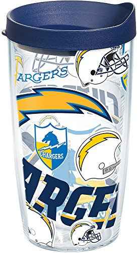 - Tervis 1248205 NFL Los Angeles Chargers All Over Tumbler with Wrap and Navy Lid 16oz, Clear