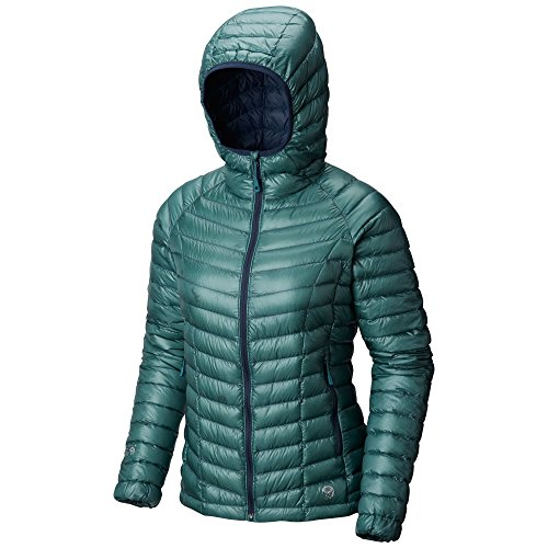 Mountain Hardwear Womens Ghost Whisperer Insulated Down Water Repellant Jacket with Hood - Lakeshore Blue - S