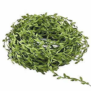 Hecaty 132 ft Olive Green Leaves Leaf Trim Ribbon for DIY Craft Party Wedding Home Decoration 13