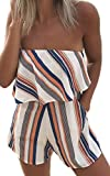 ECOWISH Women Off Shoulder Romper Strapless Floral Print Striped Beach Shorts Jumpsuit Large Orange