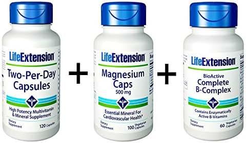 Life Extension Daily Multivitamin Two Per Day, 120 Caps, Bio-Active Complete B-Complex, 60 Veg Caps, Magnesium 500mg, 100 Veg Caps (Bundle of 3)