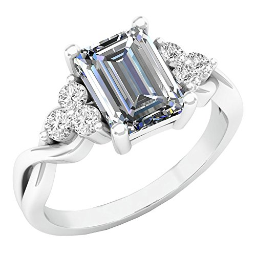 Dazzlingrock Collection 14K 8X6 MM Lab Created White Sapphire & White Sapphire Engagement Ring, White Gold, Size 10