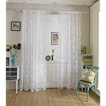 Peony Sheer Curtain Panel Window Tulle Divider White 100*200cm