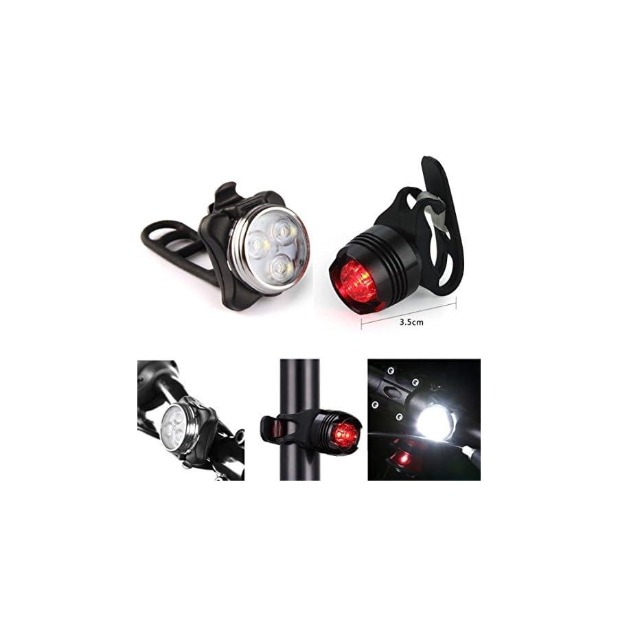 aliveGOT USB Rechargeable LED Bike Light Bicycle Front Light Tail Light Lamp Set