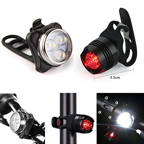 aliveGOT USB Rechargeable LED Bike Light Bicycle Front Light Tail Light Lamp Set