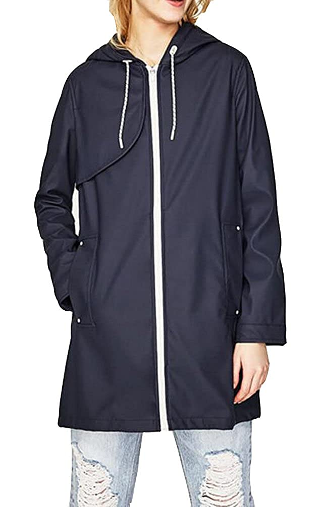 Brinny Damen Parka Regenjacke Regenmantel Regenparka /Übergangsjacke Funktionsjacke mit Kapuze Tasche Wasserdicht Atmungsaktiv Wasserabweisende