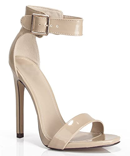 Delicious Canter Women Ankle Strap Open Toe Stiletto High Heel Dress Pumps SandalsDark Beige Patent- 4.5 Inch Heel8