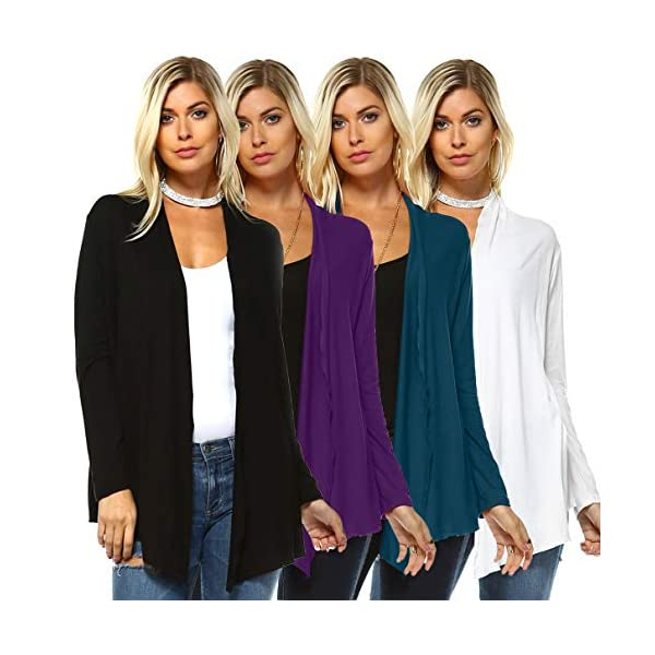 Isaac Liev Women's Casual Cardigan – 4 Pack Long Sleeve Open Front Flowy Lightweight Classic Flyaway Sweater Made in USA