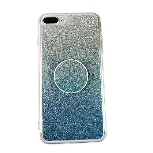 for iPhone 7/8 and Pop Out Grip Socket Set, Protective Soft TPU Rubber Cover Shock-Resistant and Non-Slip - Bling Bling Shining Blue ()