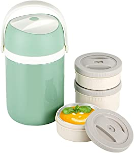 Insulated Food Jar, Thermal Food Containers, 65oz Vacuum Stainless Steel Lunch Jar, 3-Tier Stackable Leakproof Hot Cold Thermos Lunch Container for School Office Picnic Travel Outdoors