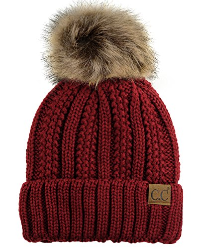 cc-thick-cable-knit-faux-fuzzy-fur-pom-fleece-lined-skull-cap-cuff-beanie-burgundy