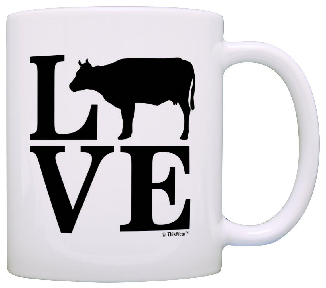 Barnyard Farm Animal Love Cows Beef Barn Yard Gift Coffee Mug Tea Cup White