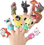 BBQ Star 10 PCs Rubber Animal Bath Finger Puppets for Kids, Educational Story Time Gift Dinosaur Head Finger T