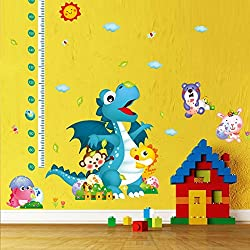 Pakdeevong shop Dinosaur Wall Stickers Growth Chart Height of Parent Temple Wall Children's Room Art for children's room furniture, murals, home decor stickers. ( Blue Dragon )