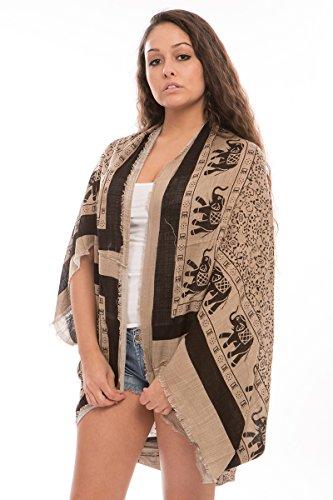Light Elephant Womens (BYOS Womens Fashion Lightweight Printed Open Front Kimono Cardigan Beach Cover-up Various Patterns (Khaki Elephant Print))