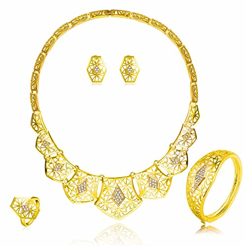 Moochi Gold Plated Hollow Crystal Embedded Necklace Bracelet Earrings Ring Jewelry Set