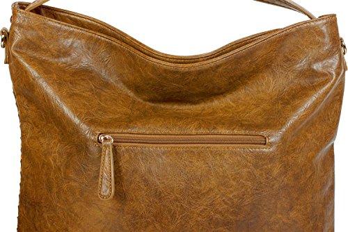 Color Coñac tipo hombro bolso hobo de de bolso trenzada 02012219 con señora compras bolso remaches y Negro óptica styleBREAKER para mano bolso wHtnpqgx1